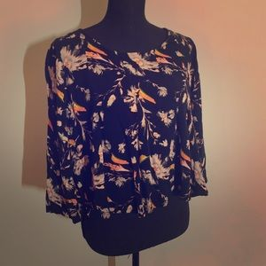 Black floral blouse with cut out back